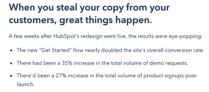 HubSpot using customer language