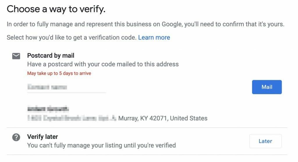gmb postcard verification 2