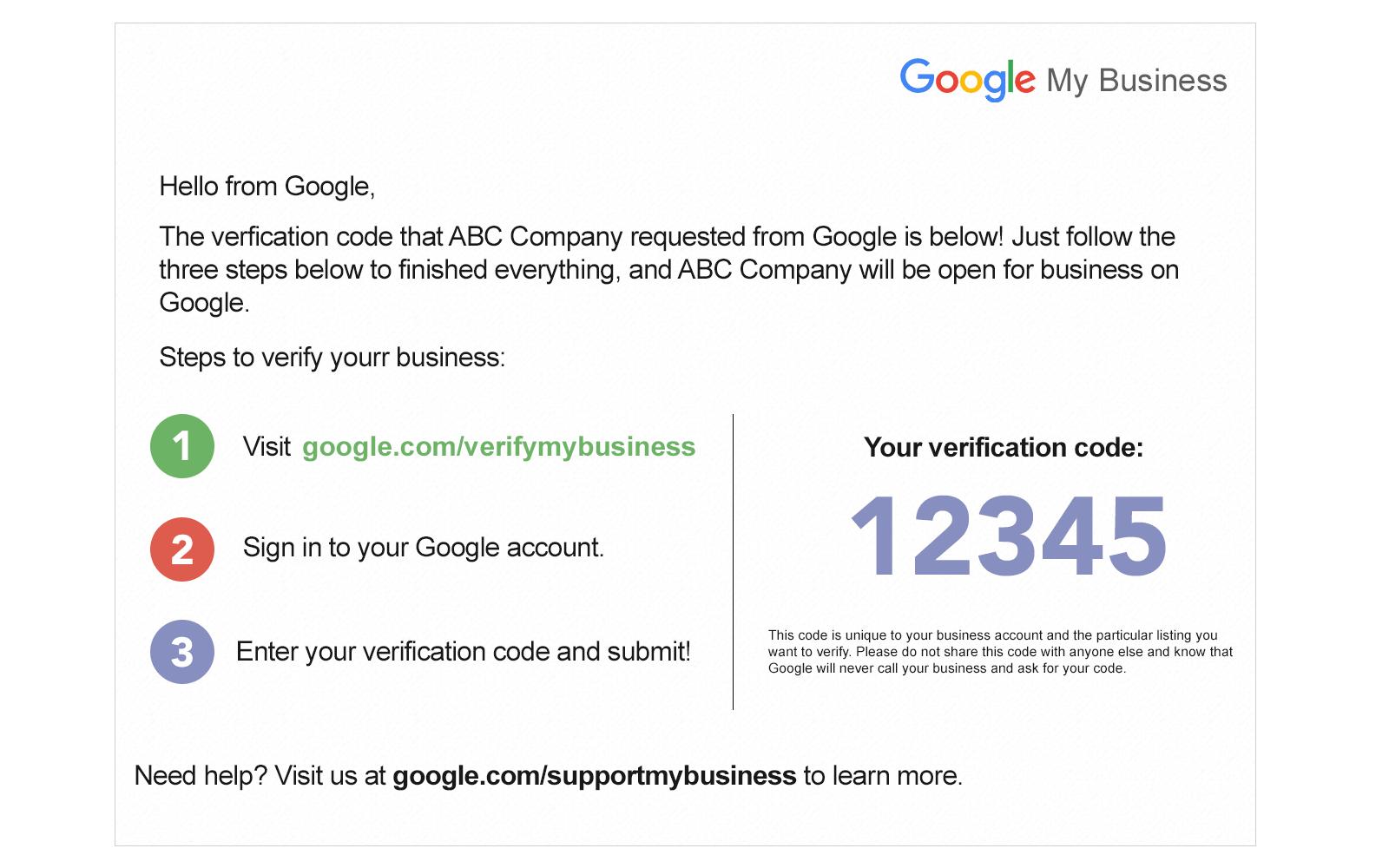 gmb postcard verification