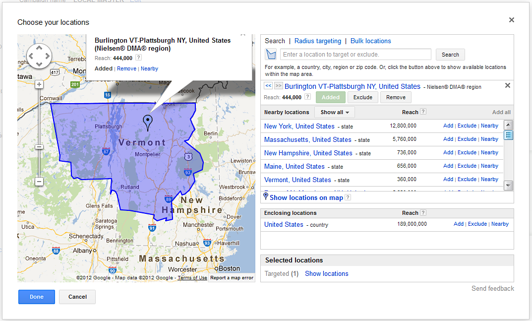 Adwords-Location-Targeting-Burlington-Plattsburgh-Map