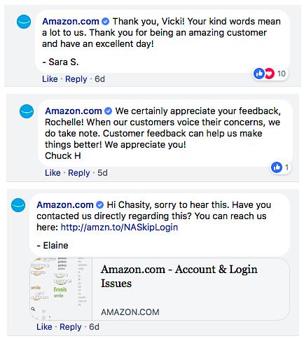 Risposte sui social media di Amazon