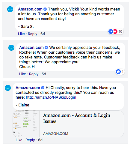 Amazon social media responses
