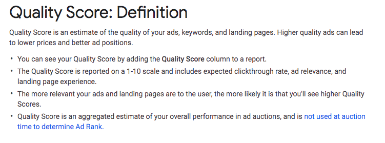 Google Ads Quality Score Definition