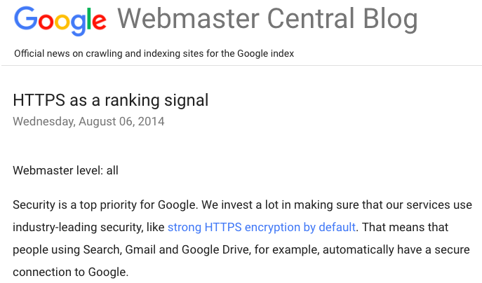 Google HTTPS as a ranking signal