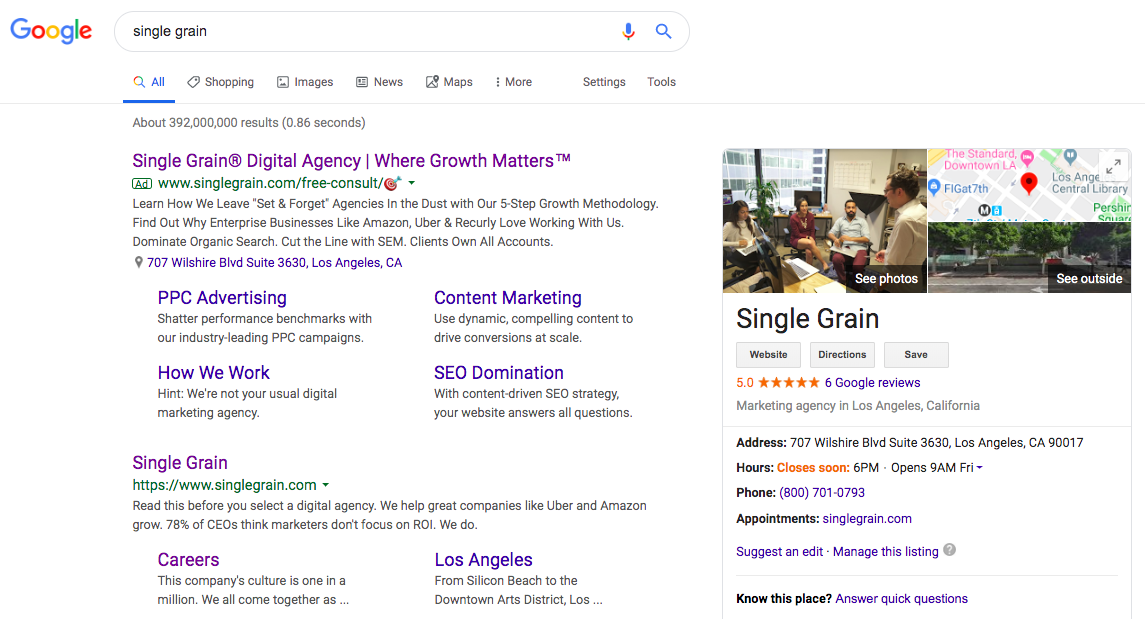 Single Grain on Google