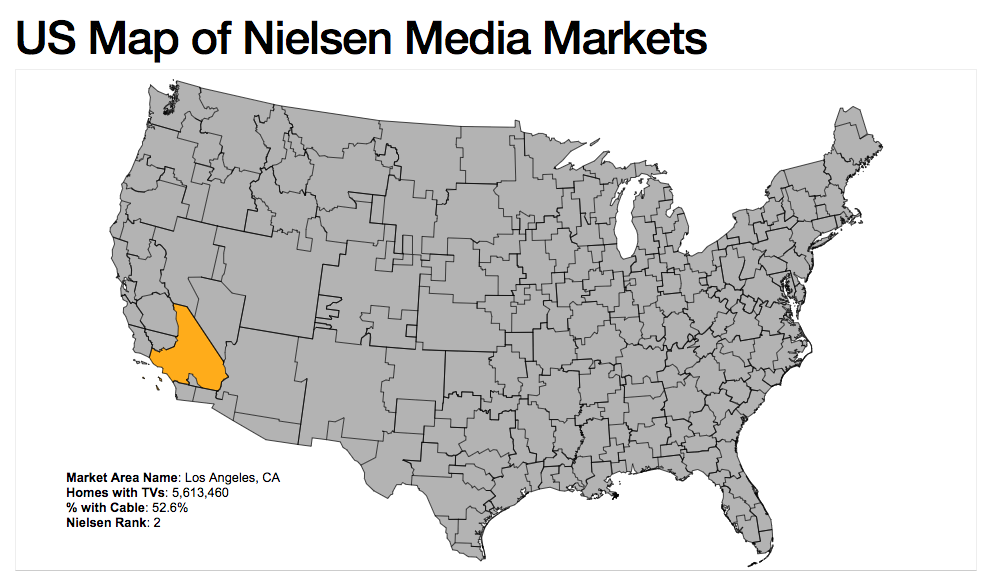 US Map of Nielsen Media Markets