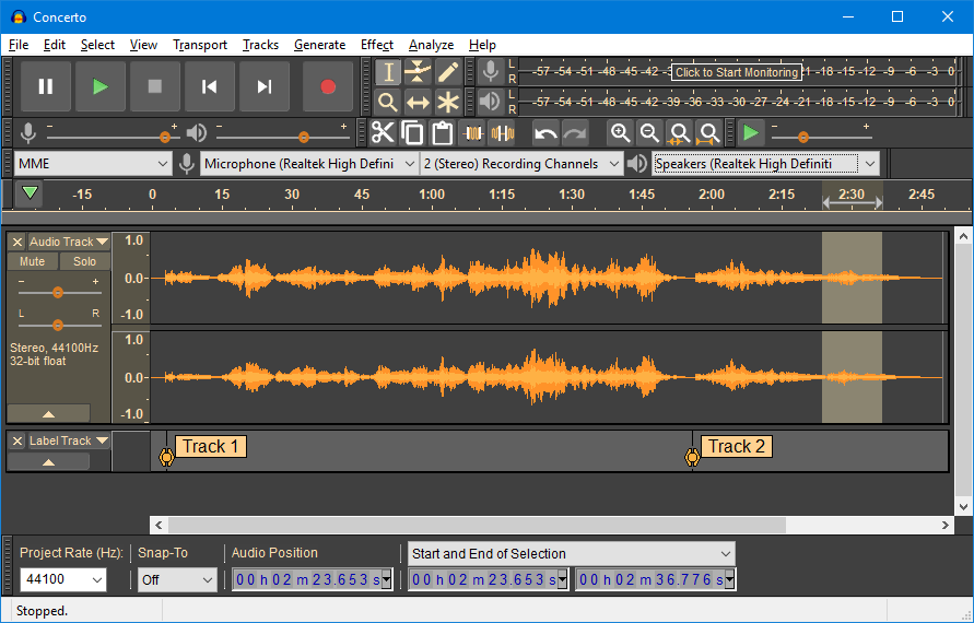 Audacity audio software