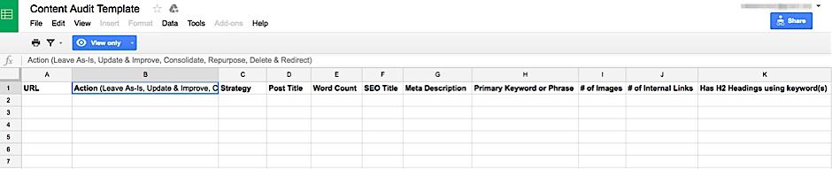 Content audit template