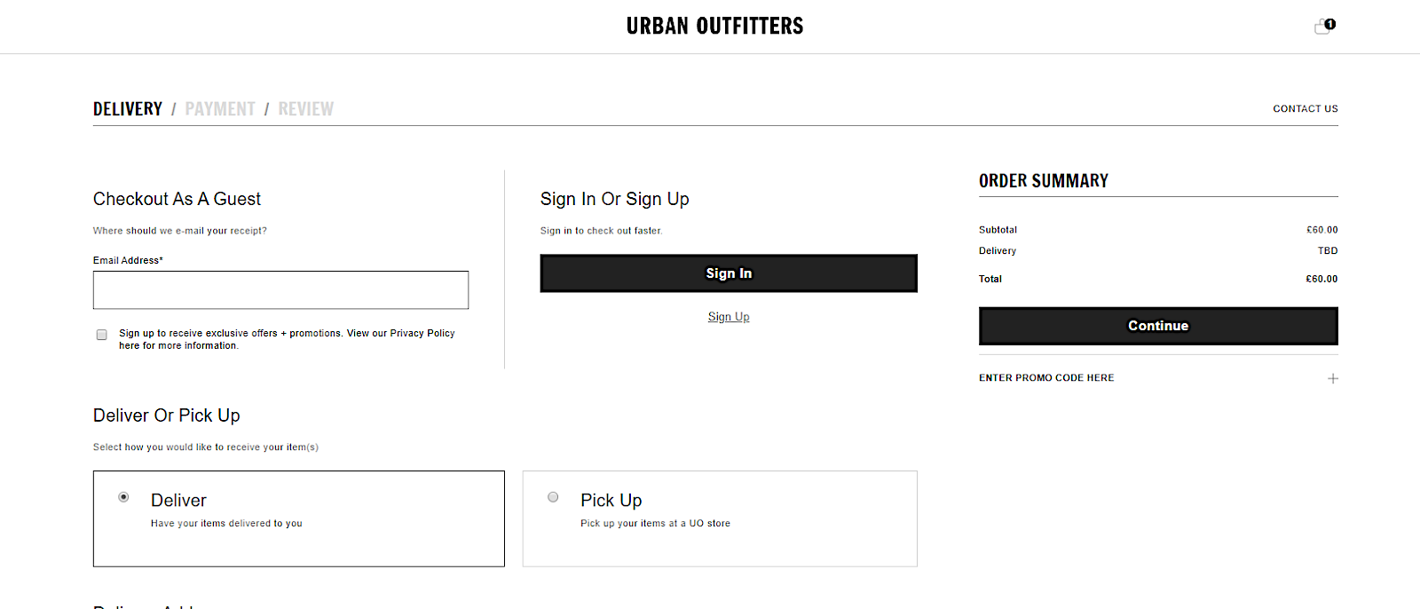 Urban Outfitters guest checkout