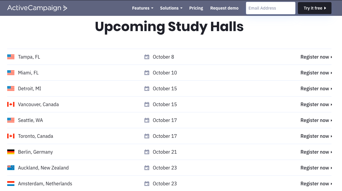 Active Campaign upcoming study halls
