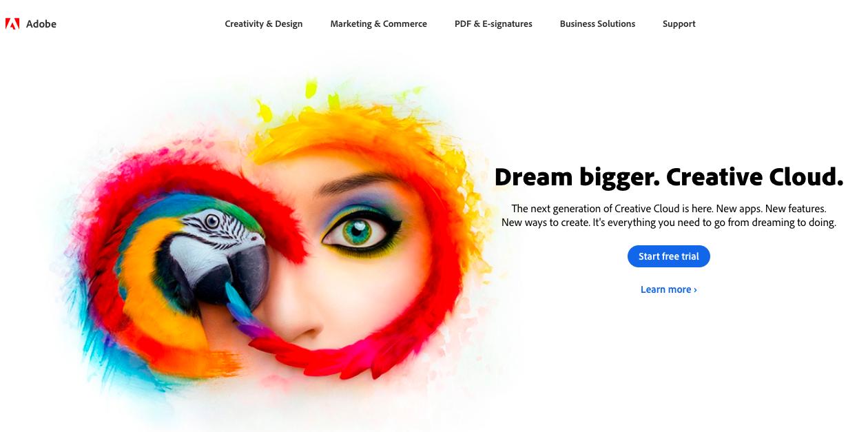Adobe homepage