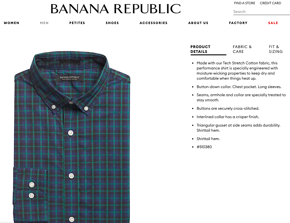 Banana Republic product copy