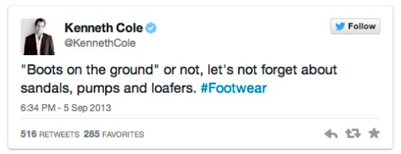 Tweet di Kenneth Cole