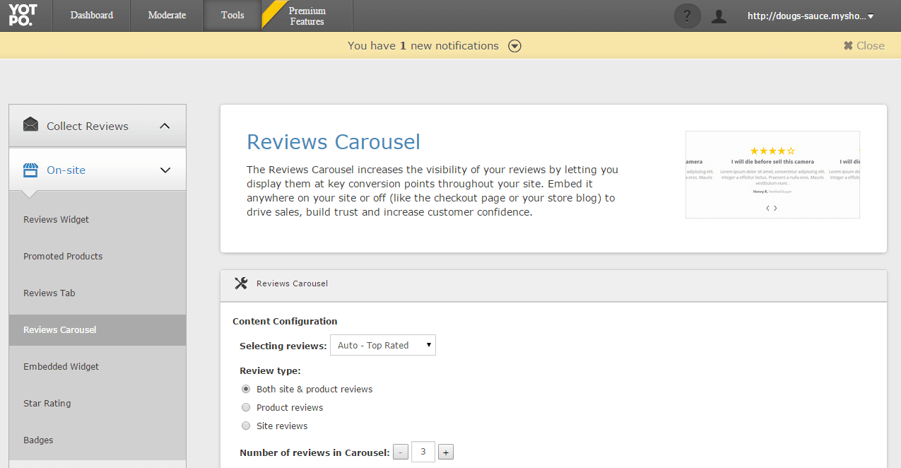 Reviews Carousel Admin Screenshot