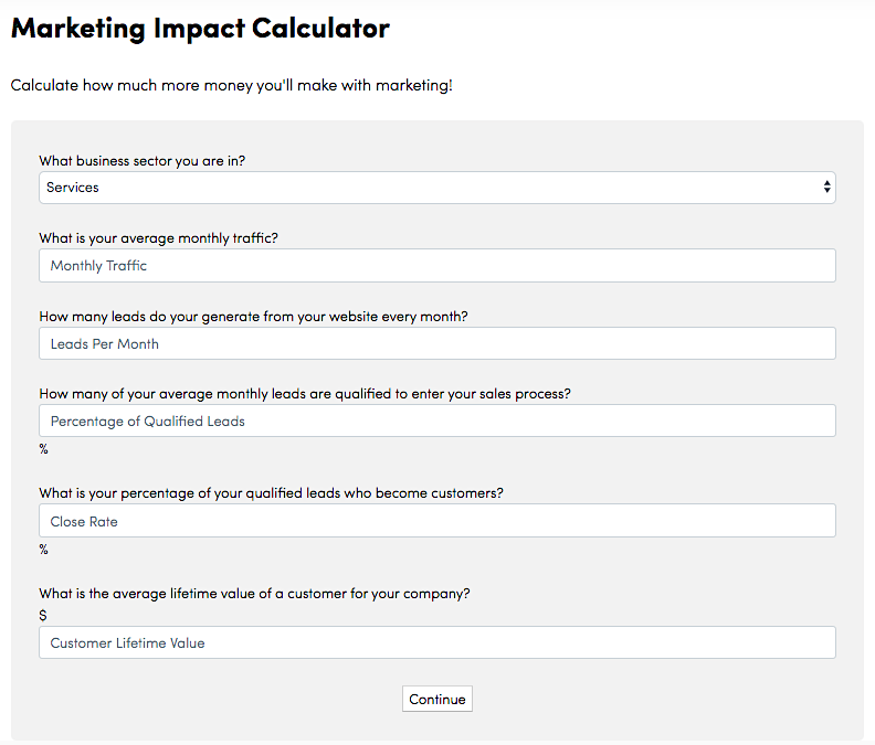 Single Grain's Marketing Impact Calculator