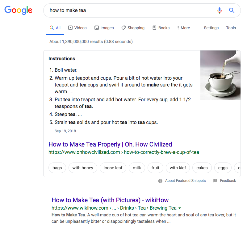 featured snippet, position zero