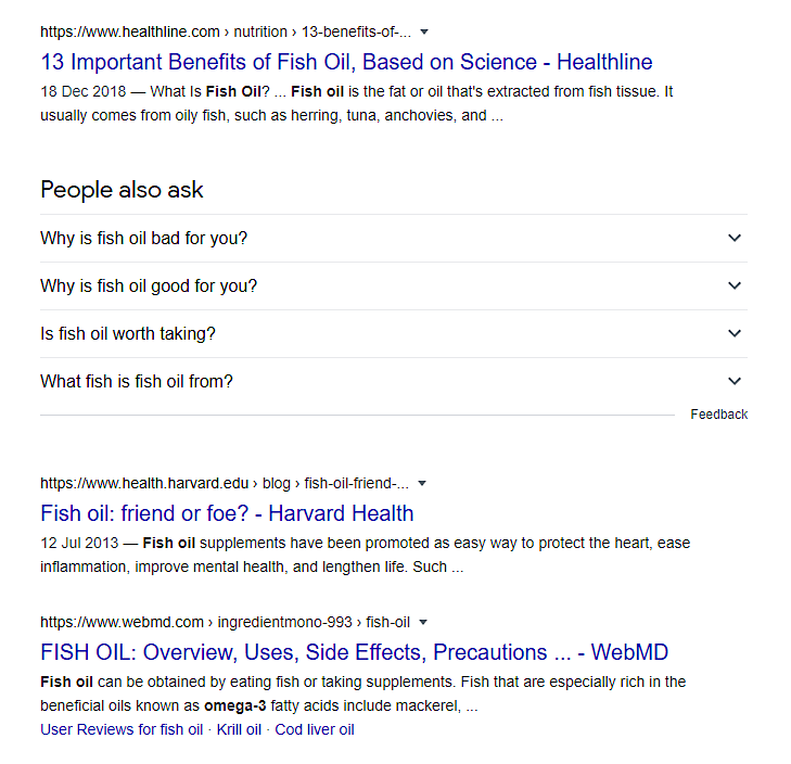 fish oil example in the SERPs