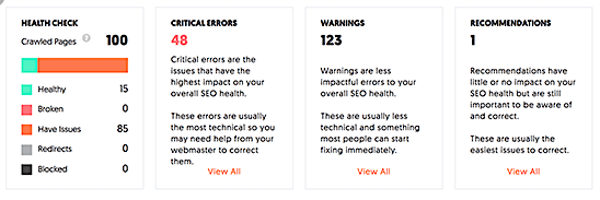 Ubersuggest SEO health check