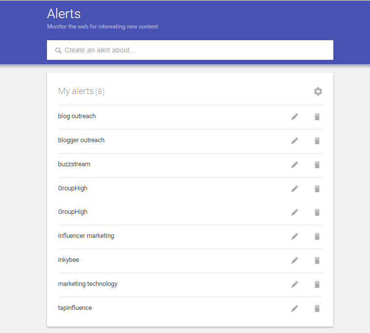 Google Alerts for influence marketing
