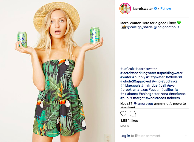 LaCroix water Instagram