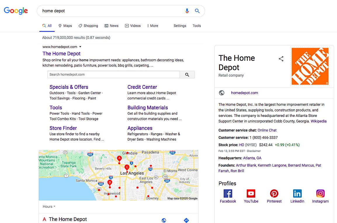 home depot google