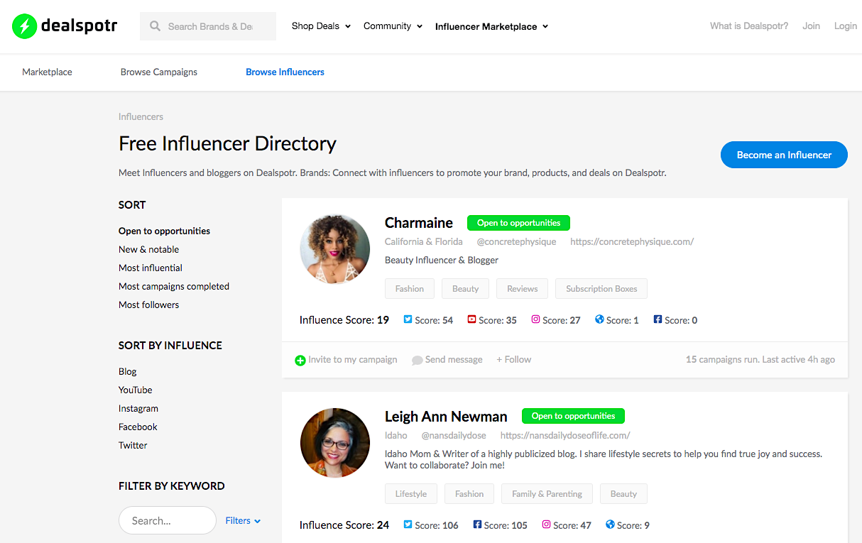Dealspotr influencers