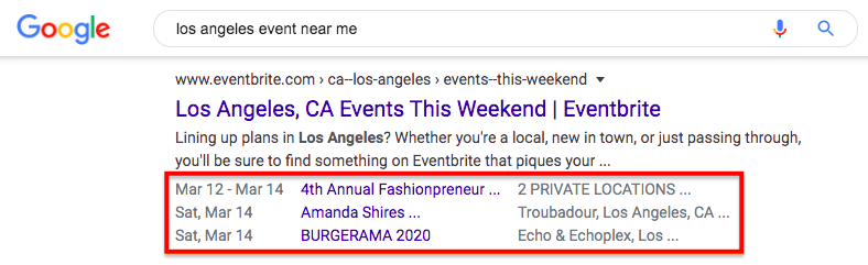 Events schema
