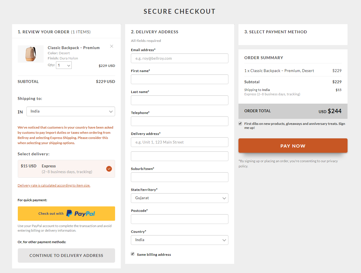 bellroy one page checkout