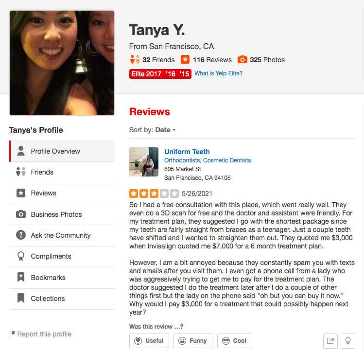 Yelp profile