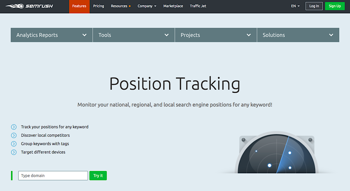 SEMrush position tracking