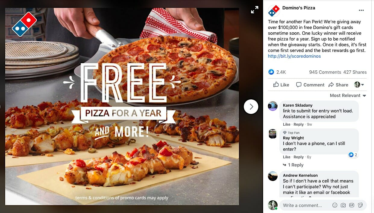 Domino's giveaway