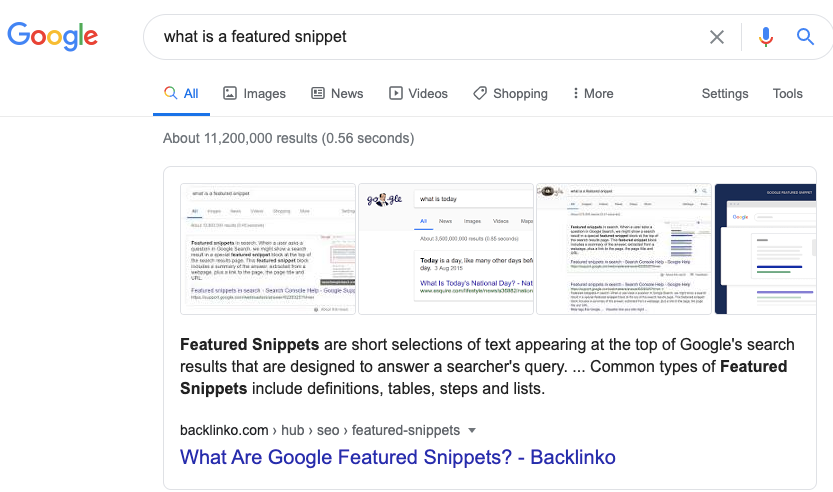 what is a featured snippet Google Search 1