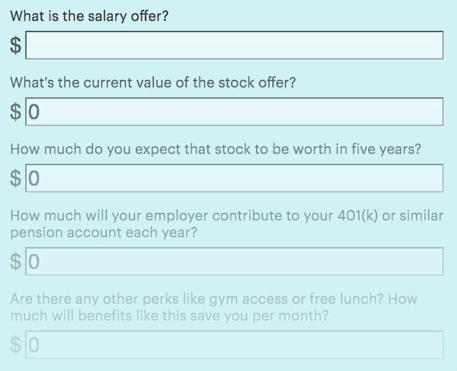 Quartz at Work job offer calculator