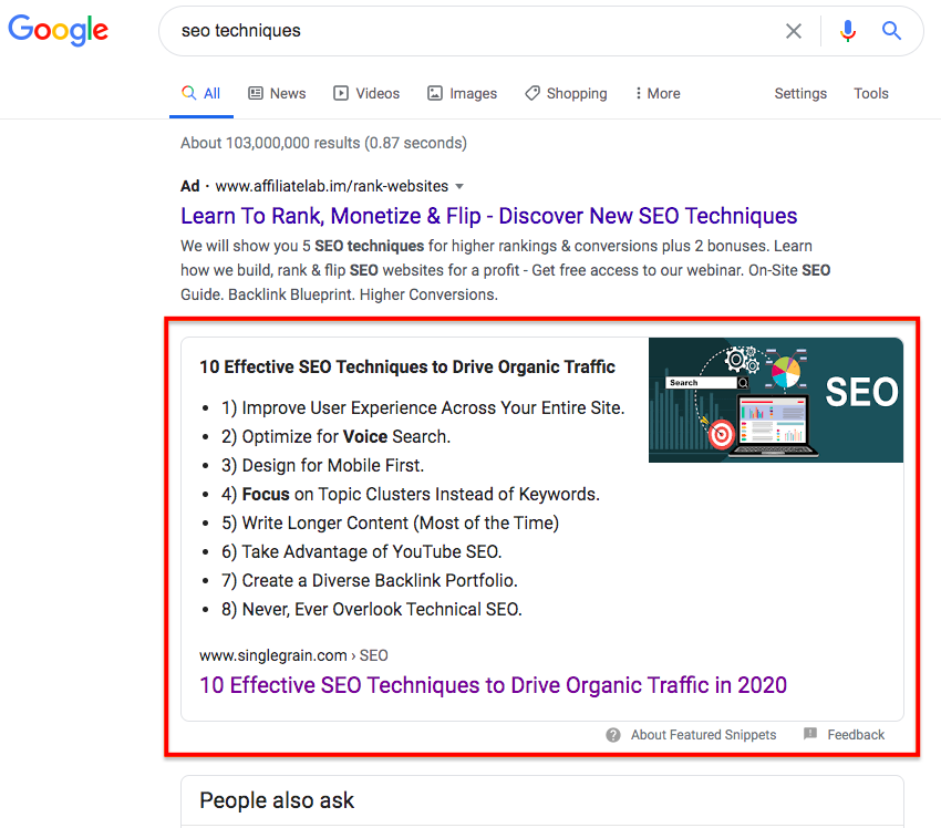 SEO techniques featured snippet