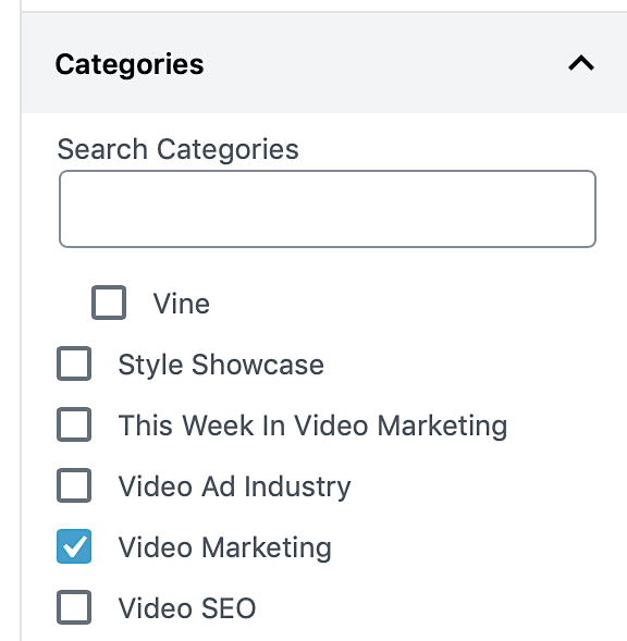 WP categories