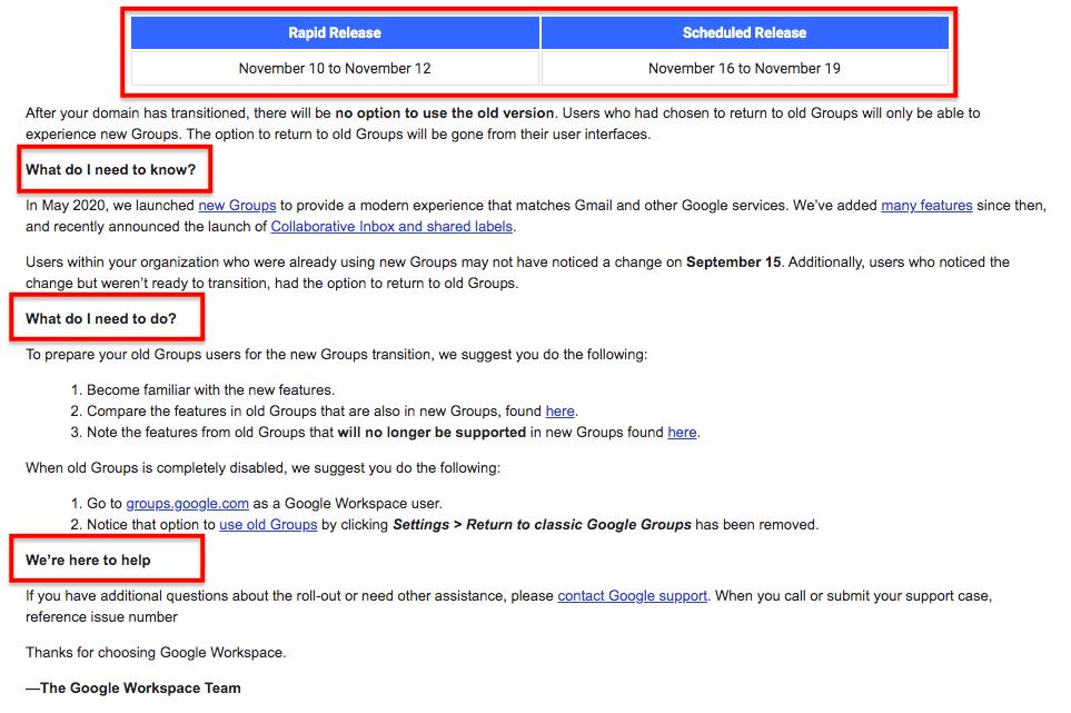 Google Workspace update emails