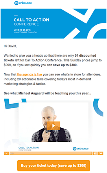 Unbounce email example