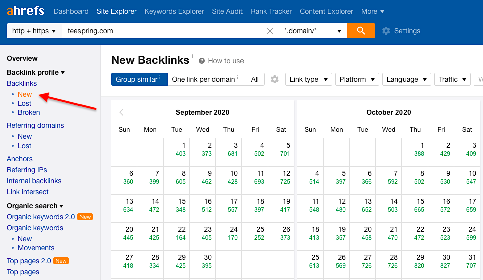 Ahrefs new backlinks