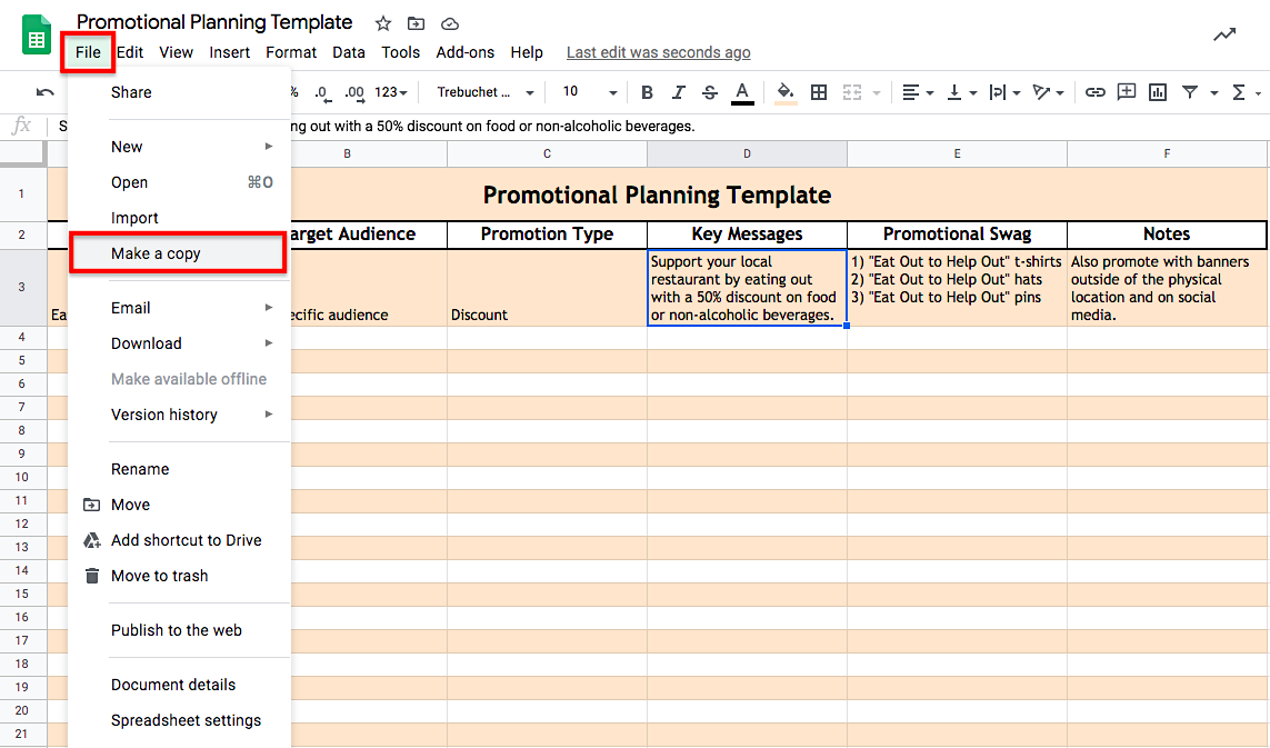 Promotional Planning Template