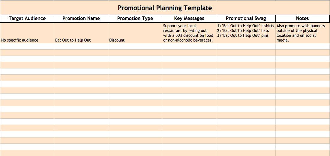 SG - promotional planning template