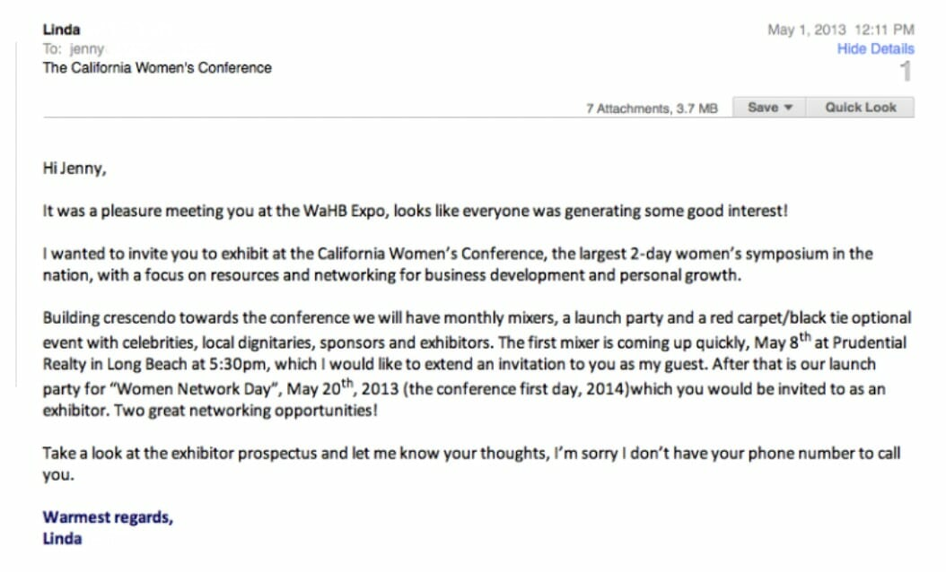 Follow-Up Email After A Conference or A Networking Event