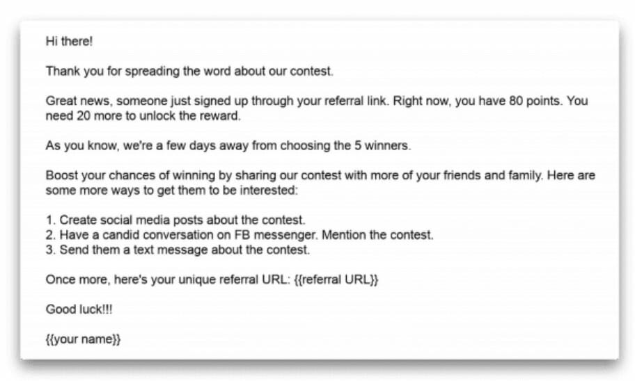 Follow-Up Email For Giveaway Entrants