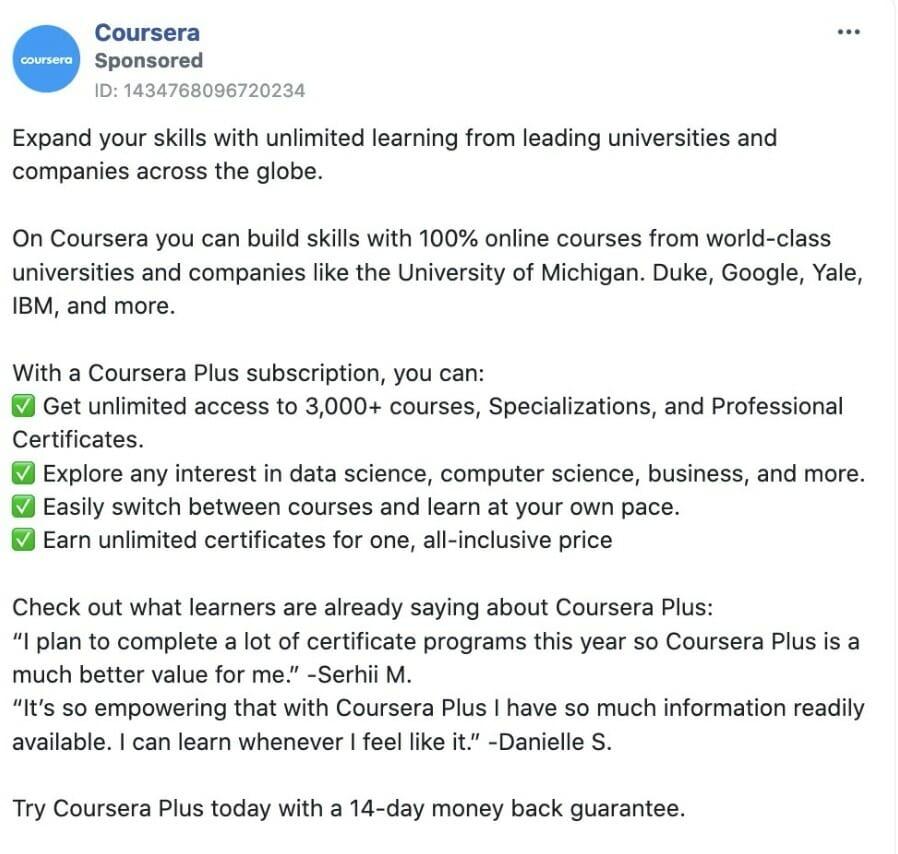 Coursera ad