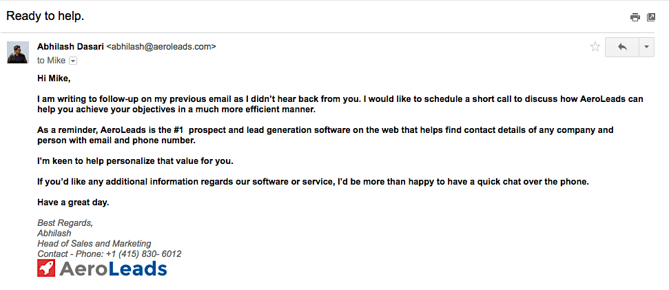 Follow up email example