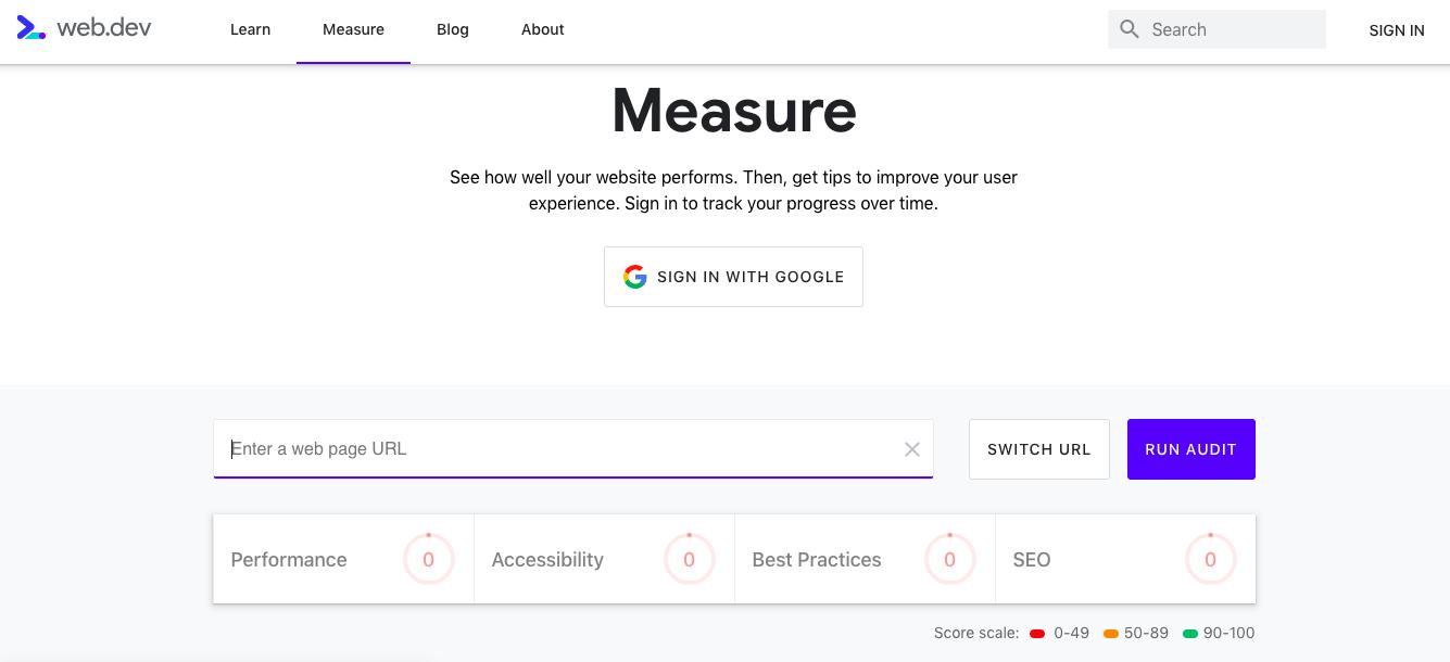 Google's web.dev tool