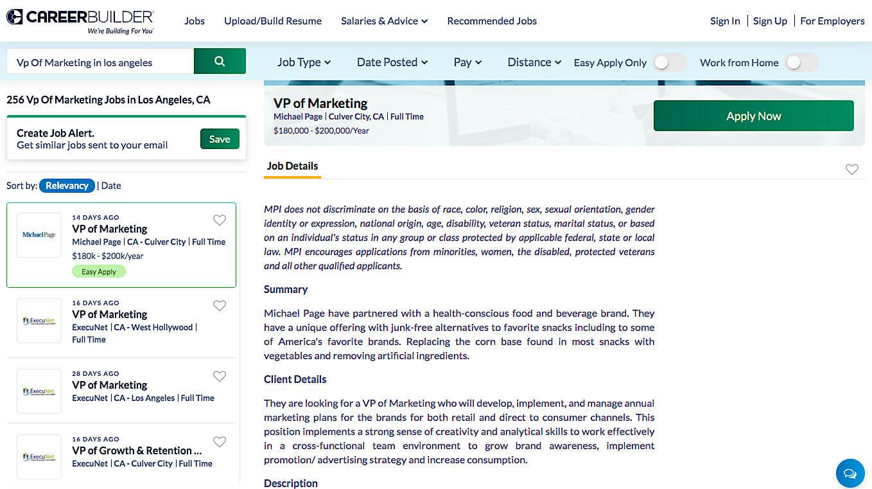 CareerBuilder vp of marketing job list