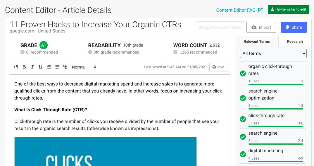 Content Editor - relevant keywords