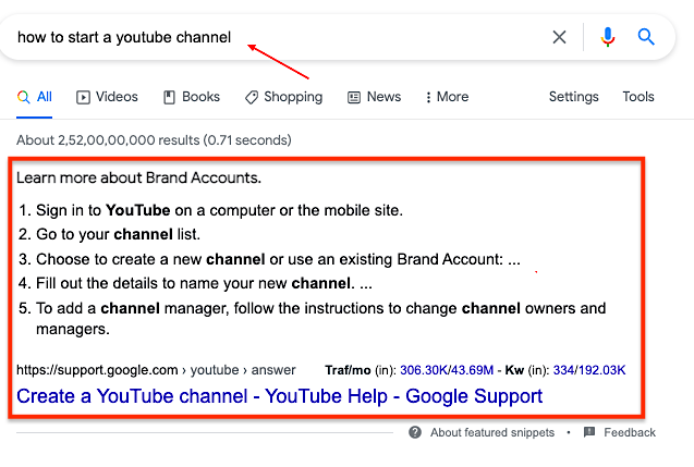Featured snippet example for search query how-to-start-a-youtube-channel