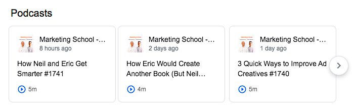 Marketing School podcast carousel in the SERPs