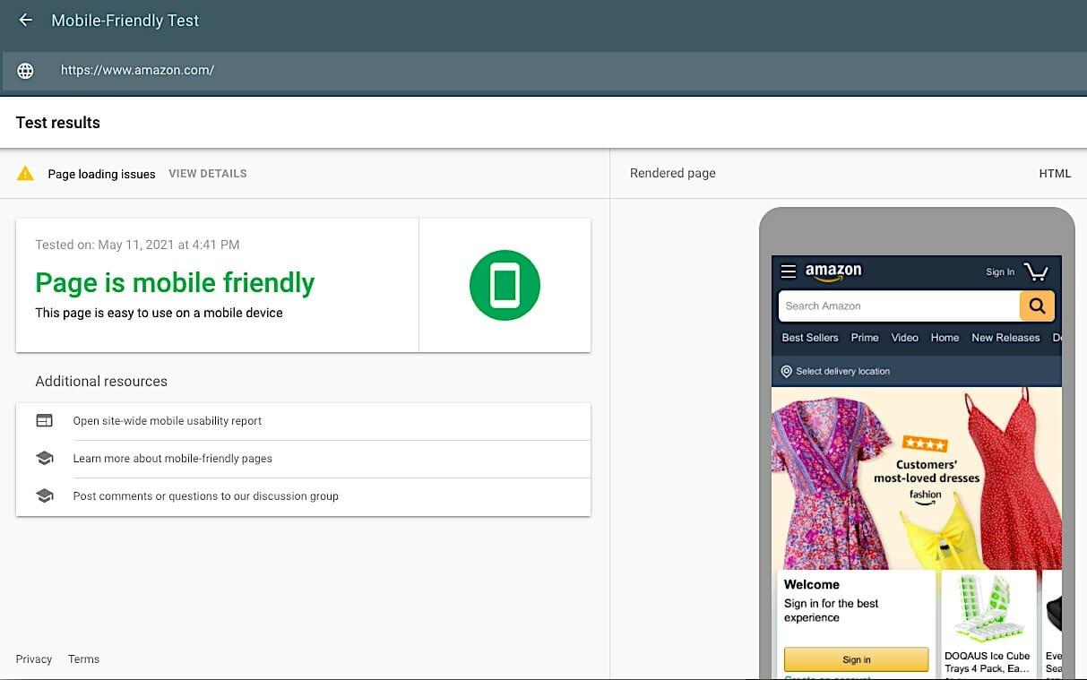 Mobile-Friendly Test - Amazon